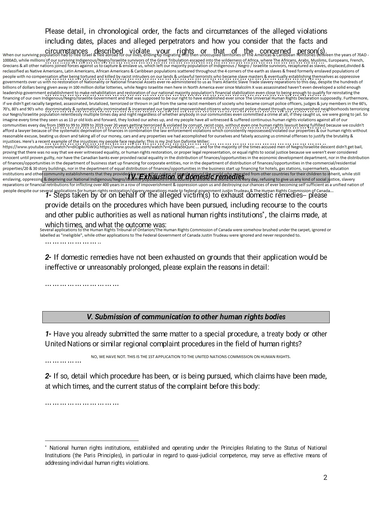UNITED NATIONS COMMISSION ON HUMAN RIGHTS COMPLAINTS APPLICATION PART 2