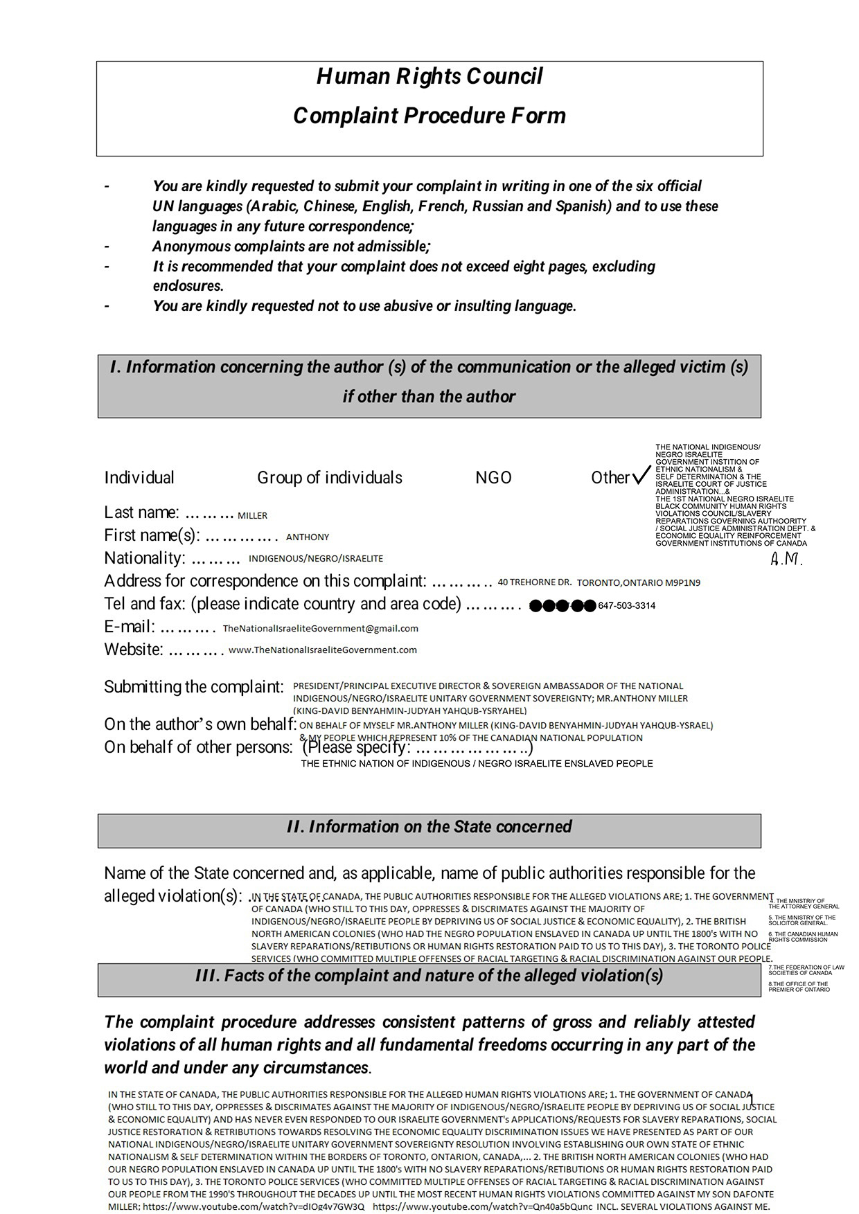 UNITED NATIONS HUMAN RIGHTS COMPLAINTS APPLICATION PART 1