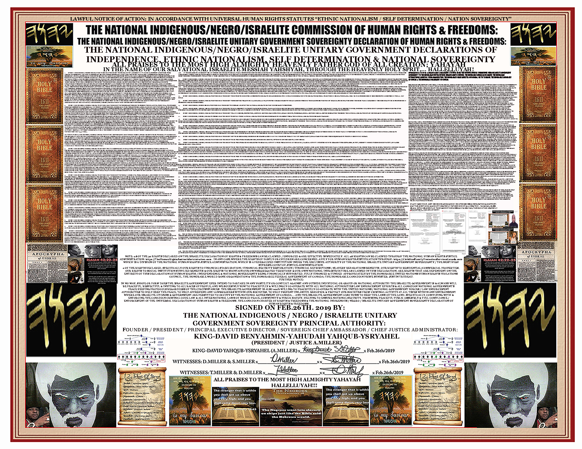 OFFICIAL9 DECLARATION OF NATIONAL ISRAELITE RIGHTS & FREEDOMS10