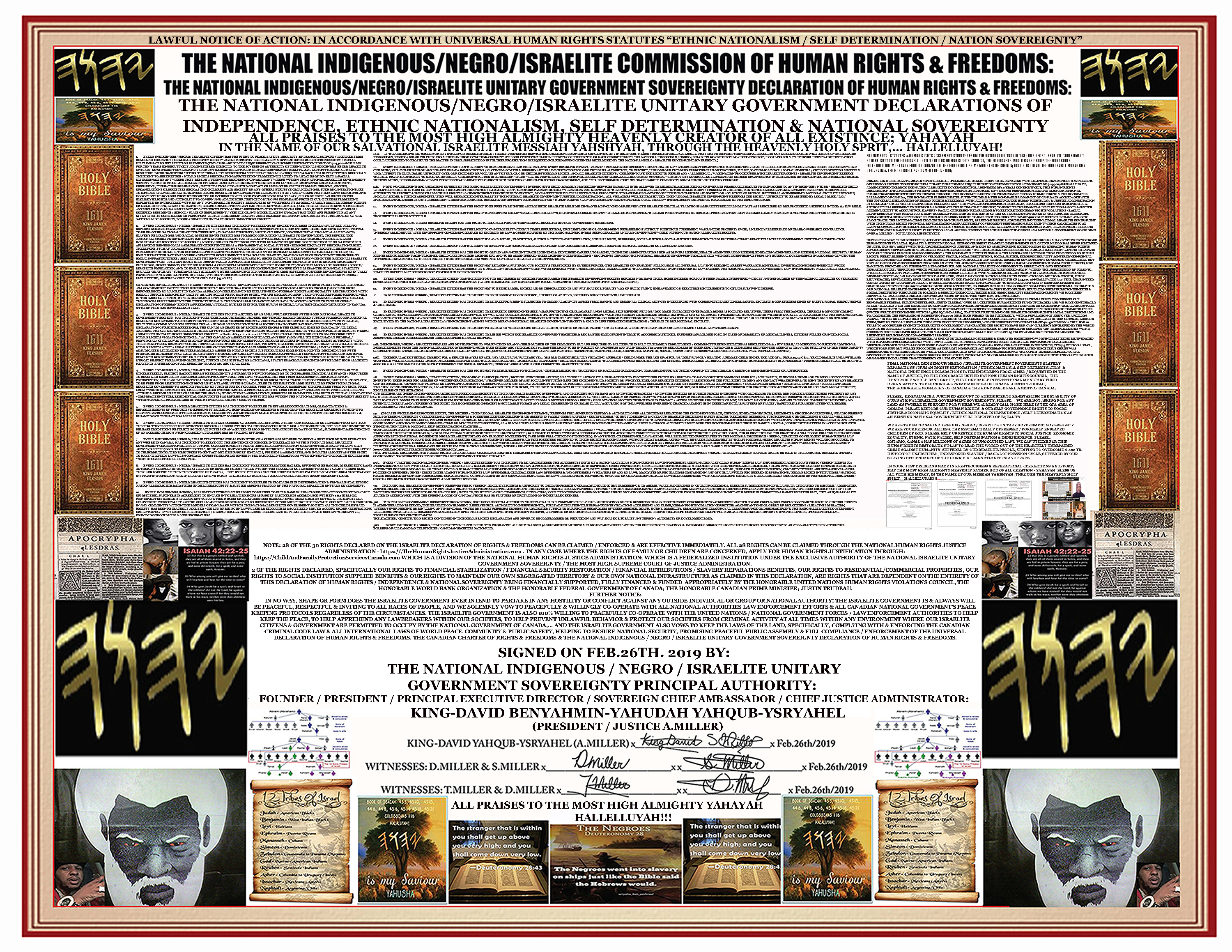 OFFICIAL9 DECLARATION OF NATIONAL ISRAELITE RIGHTS & FREEDOMS9B