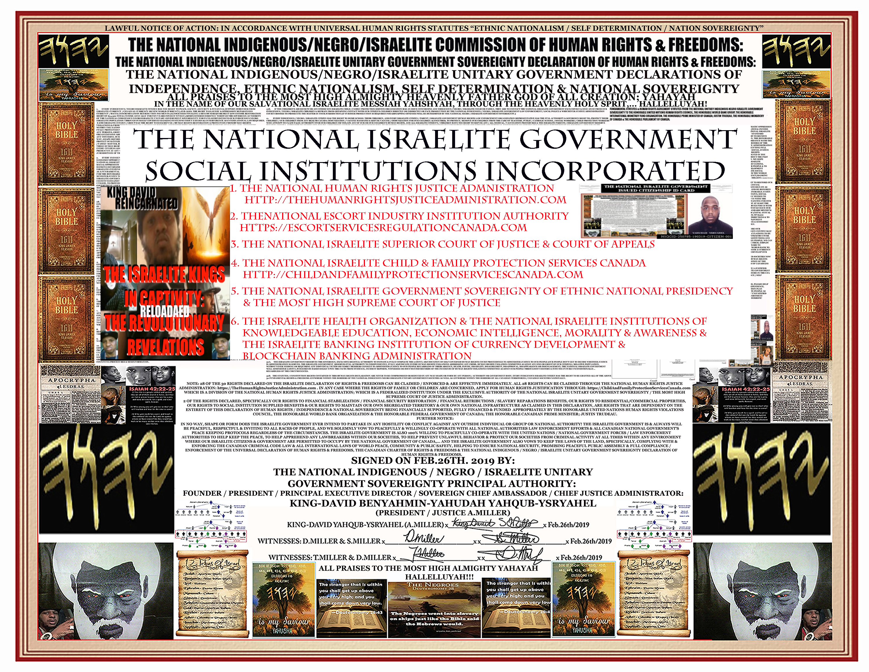 OFFICIAL9 DECLARATION OF NATIONAL ISRAELITE RIGHTS & FREEDOMS SOCIAL INSTITUTIONS REDUCED